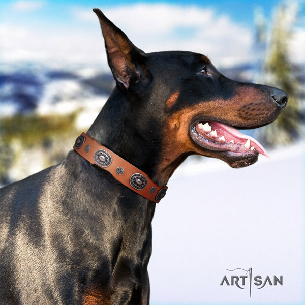 Doberman unusual full grain genuine leather collar with decorations for your doggie