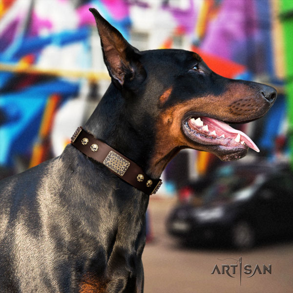 Doberman easy adjustable genuine leather collar with embellishments for your dog