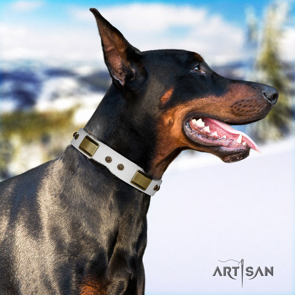 Doberman perfect fit full grain genuine leather collar with decorations for your doggie