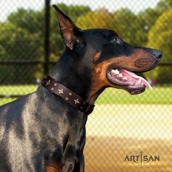 Doberman impressive full grain natural leather collar with embellishments for your doggie