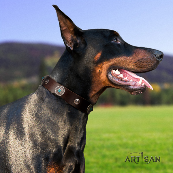 Doberman full grain natural leather dog collar with adornments for comfy wearing