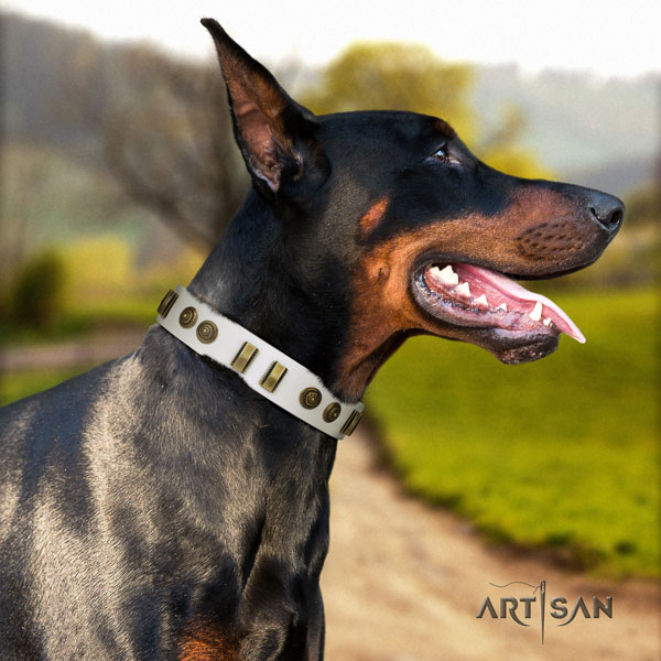 Doberman remarkable leather collar with decorations for your doggie