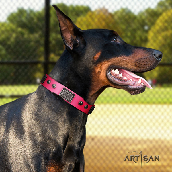 Doberman amazing natural genuine leather collar with decorations for your four-legged friend