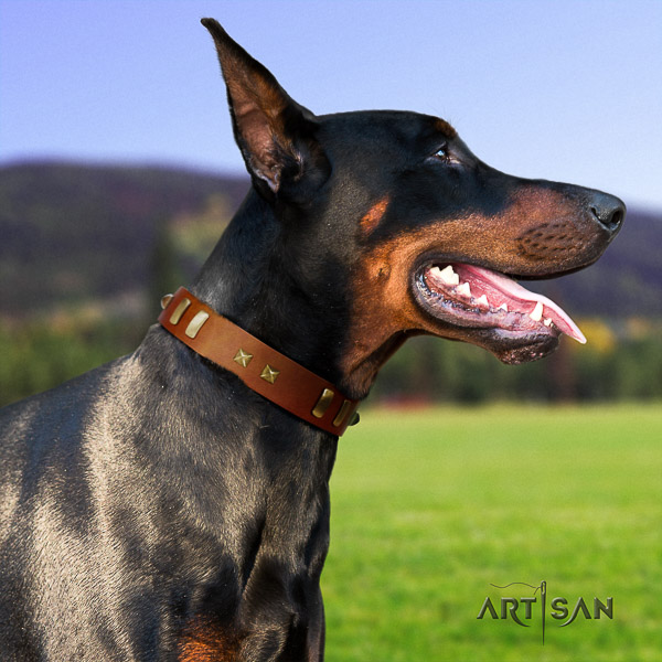 Doberman easy wearing natural genuine leather dog collar with embellishments