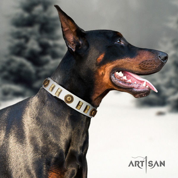 Doberman daily use leather dog collar with studs