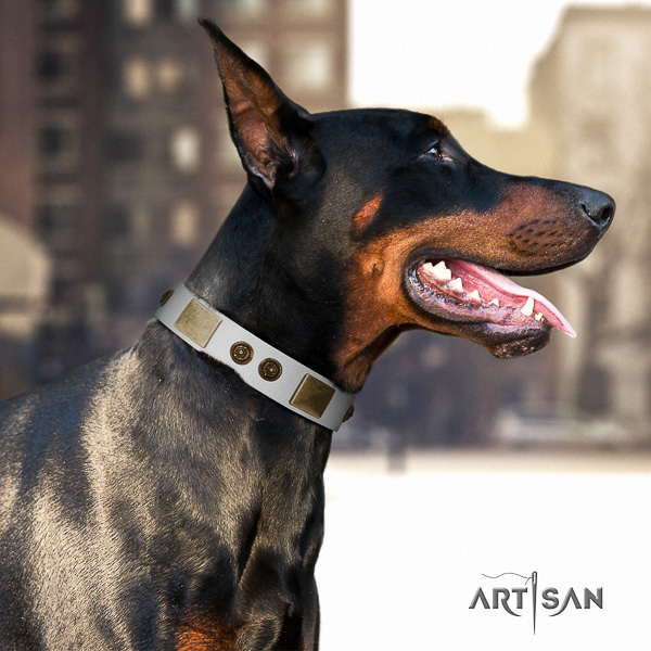 Doberman easy wearing leather dog collar with adornments
