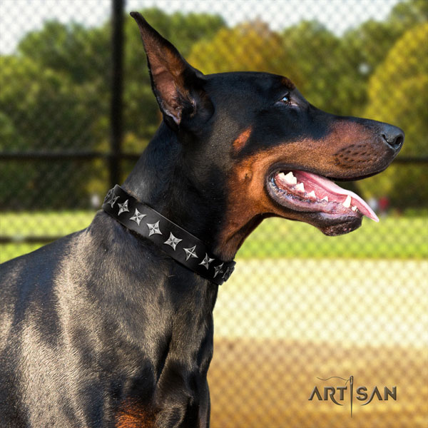 Doberman fashionable full grain leather collar with decorations for your pet