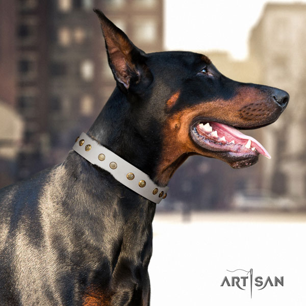 Doberman trendy full grain natural leather collar with decorations for your pet