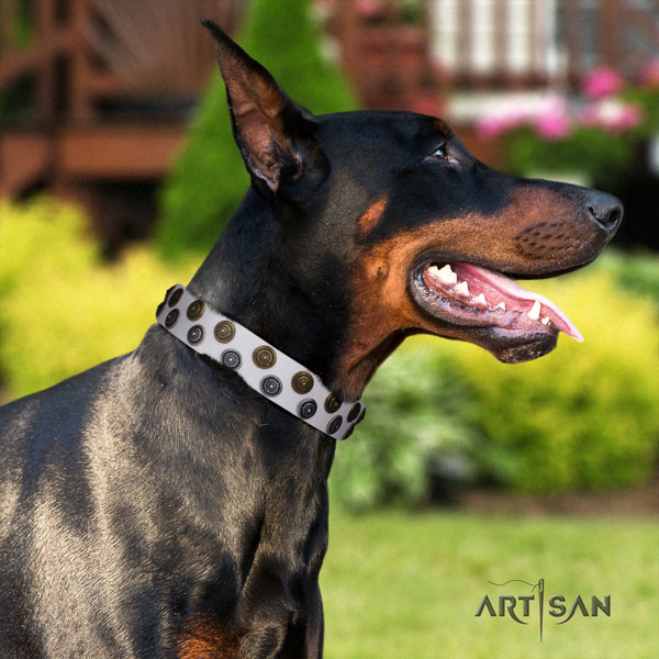Doberman fashionable leather collar with decorations for your doggie