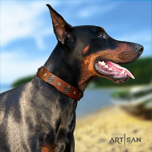 Doberman walking leather dog collar with decorations