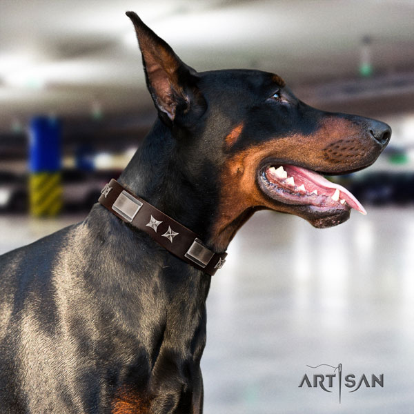Doberman extraordinary full grain leather collar with decorations for your four-legged friend