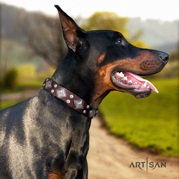 Doberman awesome full grain leather collar with studs for your doggie