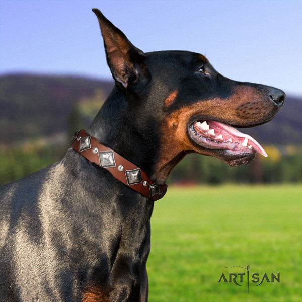Doberman handmade full grain leather collar with decorations for your dog