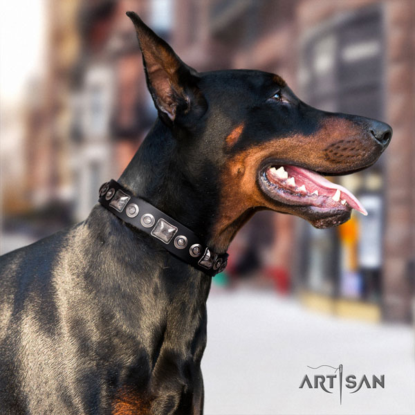 Doberman inimitable full grain natural leather collar with decorations for your pet