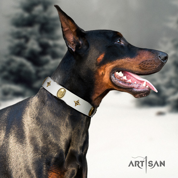 Doberman stylish walking full grain genuine leather dog collar with decorations