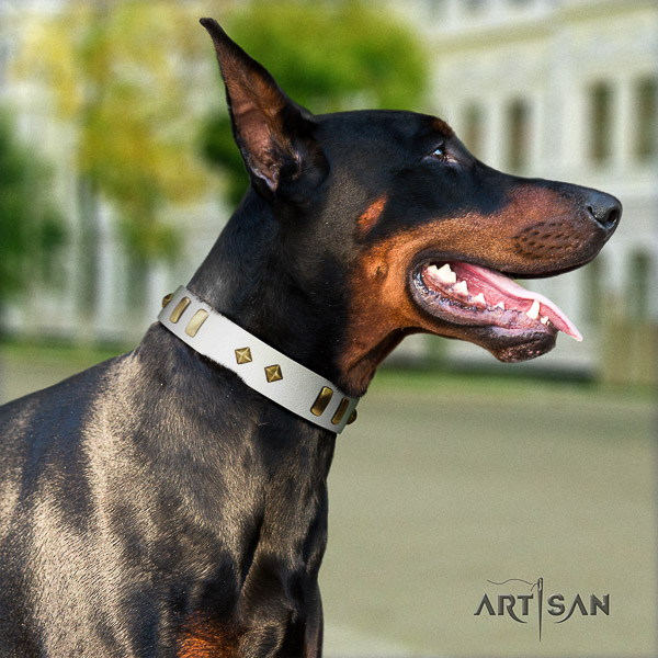 Doberman fancy walking genuine leather dog collar with decorations