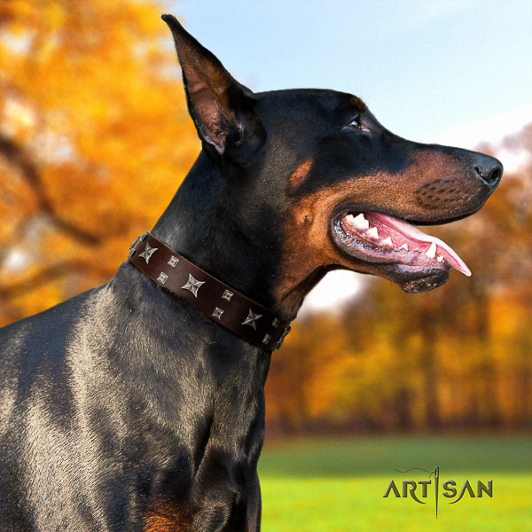 Doberman leather dog collar with decorations for everyday use