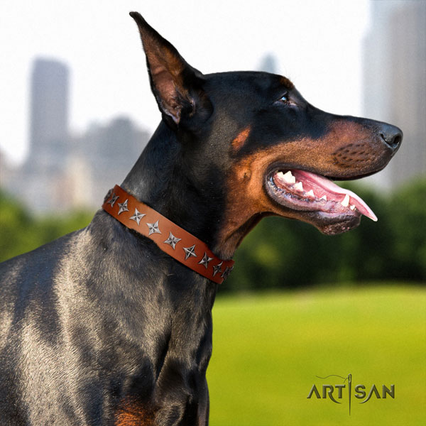 Doberman comfortable natural genuine leather collar with adornments for your doggie