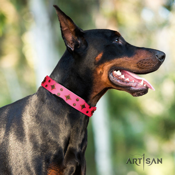 Doberman easy wearing natural genuine leather collar with studs for your dog