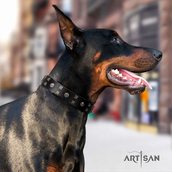 Doberman genuine leather dog collar with studs for your attractive doggie