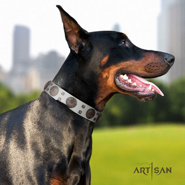 Doberman genuine leather dog collar with adornments for your attractive canine