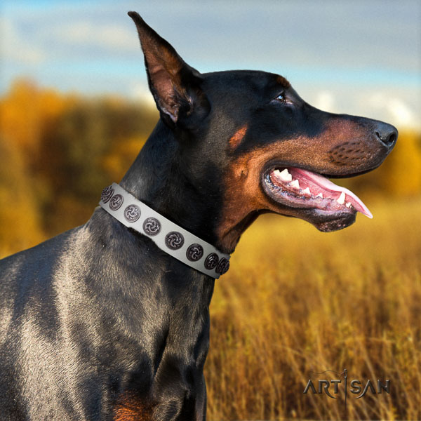 Doberman genuine leather dog collar with decorations for your stylish dog