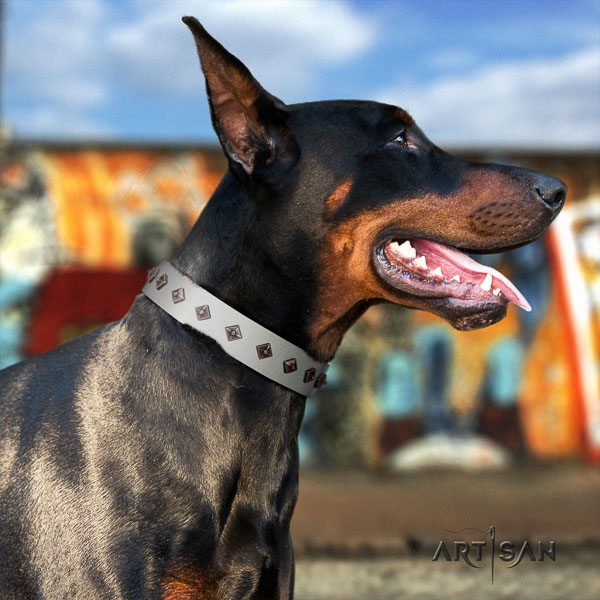 Doberman natural genuine leather dog collar with adornments for your attractive four-legged friend