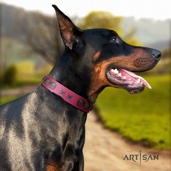 Doberman natural genuine leather dog collar with adornments for your lovely doggie