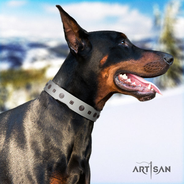 Doberman natural genuine leather dog collar with embellishments for your impressive pet