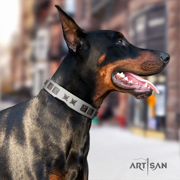 Doberman full grain genuine leather dog collar with decorations for your lovely pet