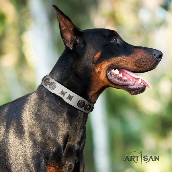 Doberman full grain leather dog collar with decorations for your attractive dog