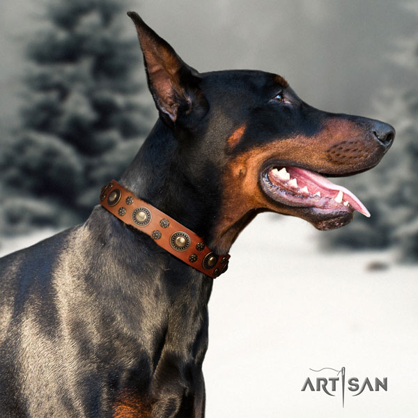 Doberman unique genuine leather collar with decorations for your doggie