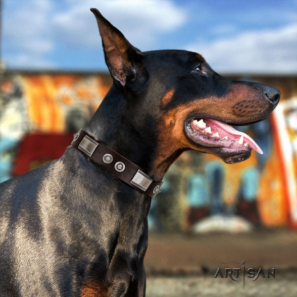 Doberman easy adjustable full grain leather collar with embellishments for your dog