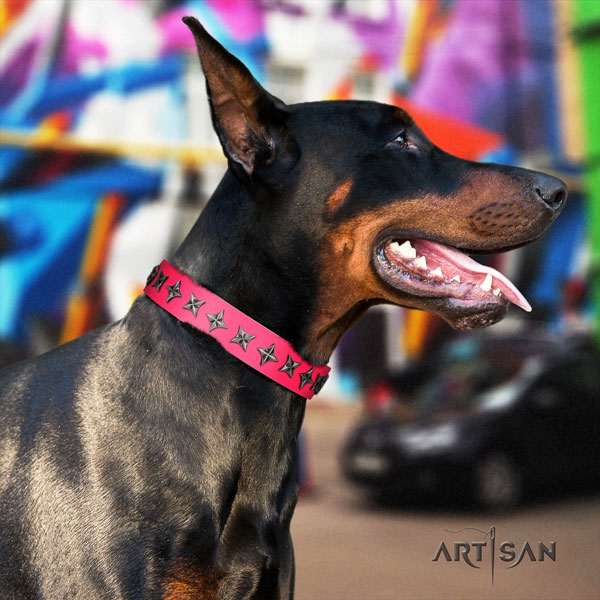 Doberman inimitable leather collar with embellishments for your doggie