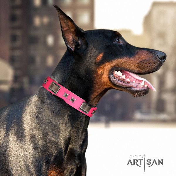Doberman incredible full grain natural leather collar with studs for your dog
