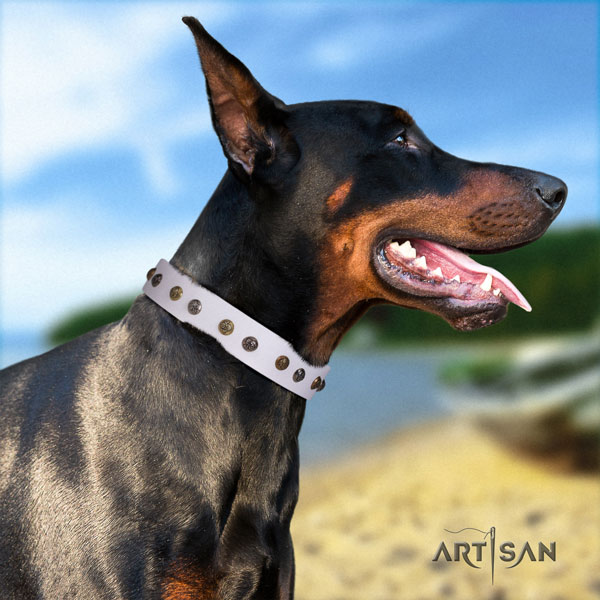 Doberman easy adjustable full grain leather collar with adornments for your canine