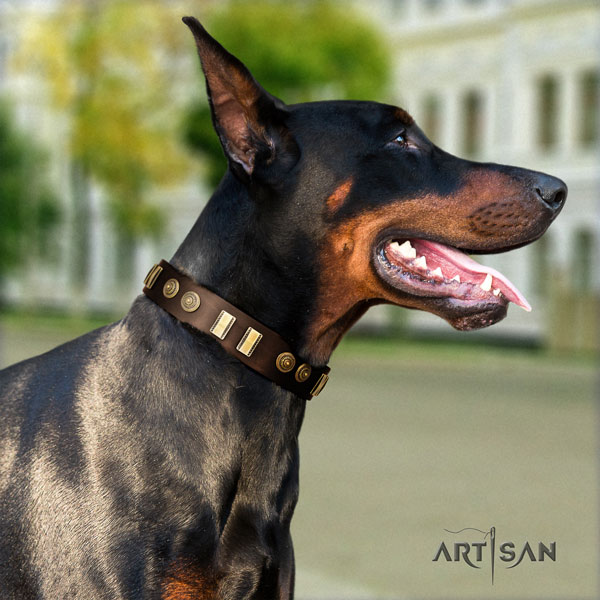 Doberman awesome full grain natural leather collar with studs for your dog