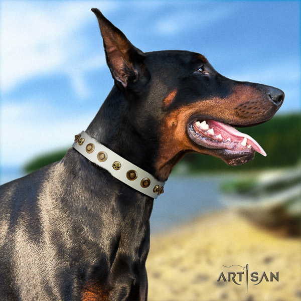 Doberman easy wearing genuine leather dog collar with adornments