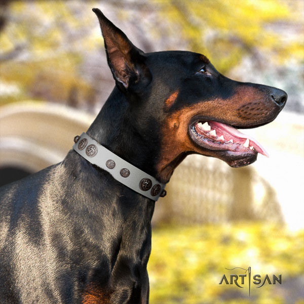 Doberman leather dog collar with studs for your lovely pet