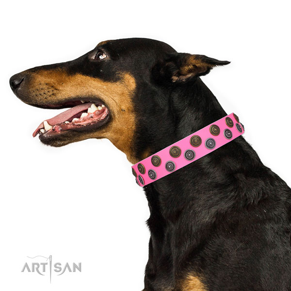 Doberman exquisite natural genuine leather dog collar for stylish walking