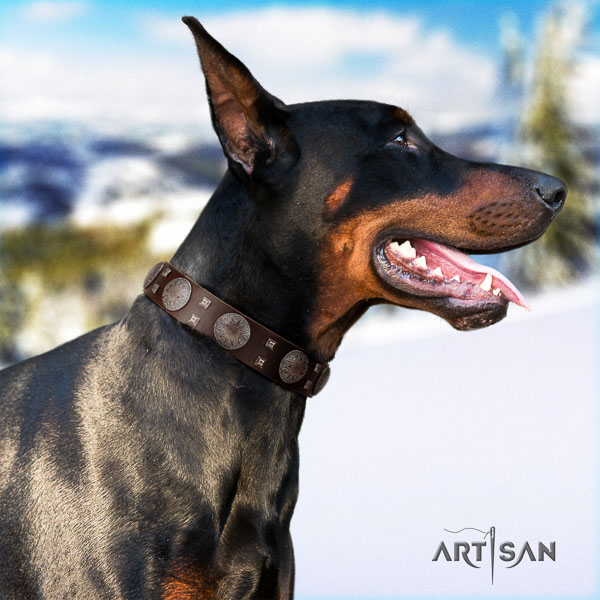 Doberman natural genuine leather dog collar with embellishments for your lovely doggie