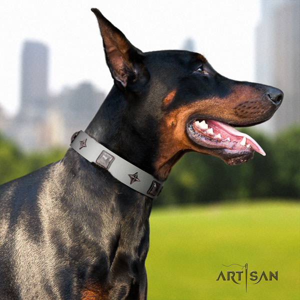 Doberman natural genuine leather dog collar with embellishments for your attractive four-legged friend