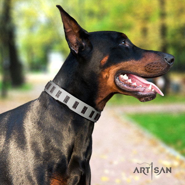 Doberman full grain leather dog collar with adornments for your lovely pet