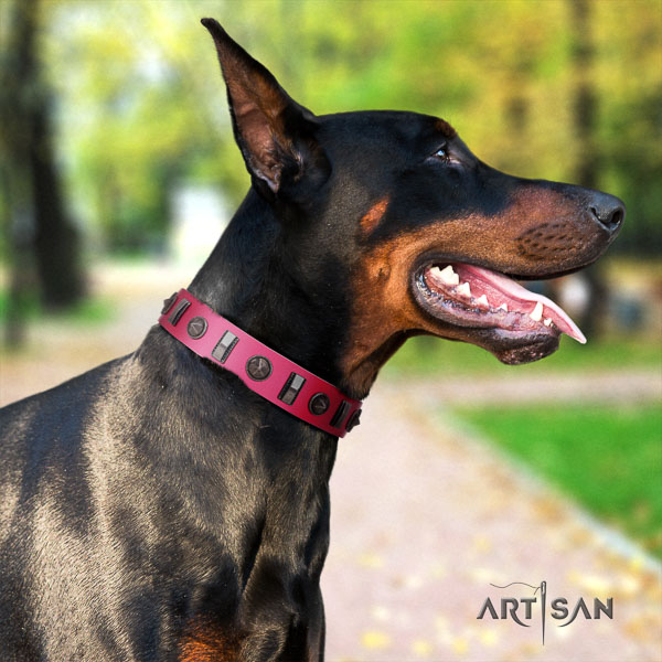 Doberman full grain genuine leather dog collar with decorations for your beautiful pet