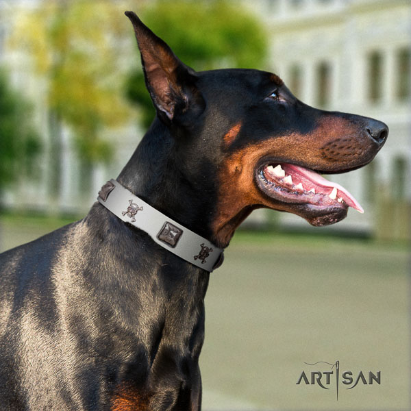 Doberman full grain natural leather dog collar with adornments for your attractive four-legged friend