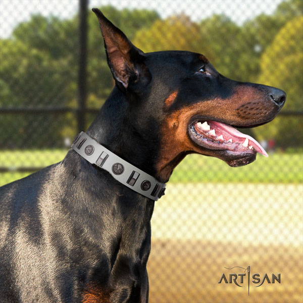 Doberman natural genuine leather dog collar with decorations for your handsome canine