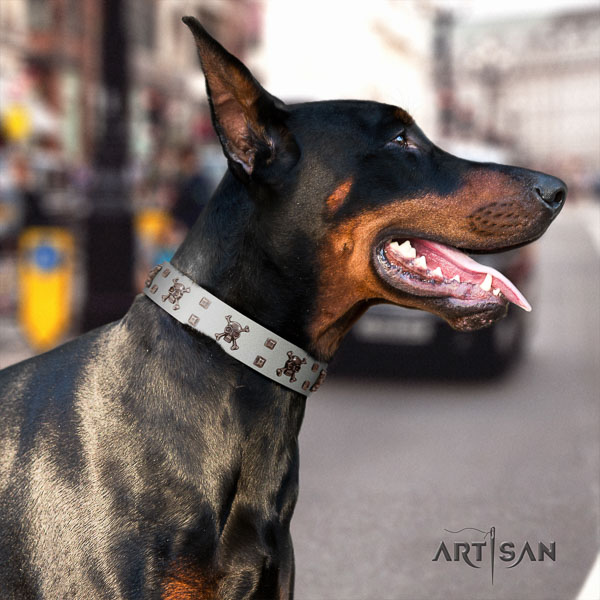 Doberman full grain genuine leather dog collar with embellishments for your stylish four-legged friend