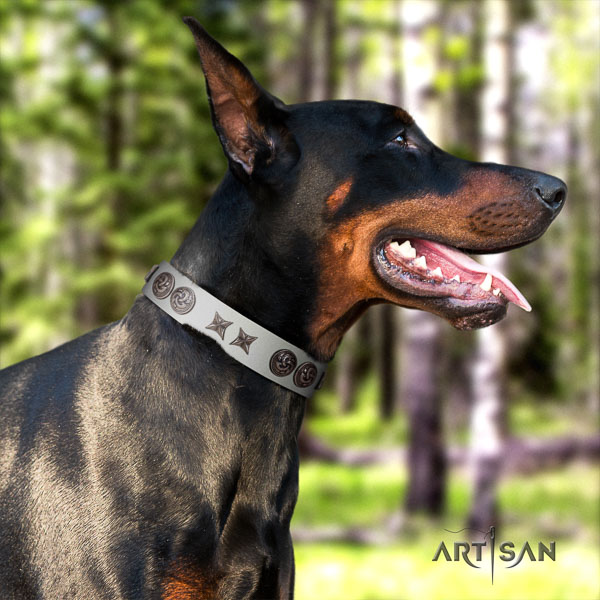 Doberman full grain leather dog collar with embellishments for your stylish four-legged friend
