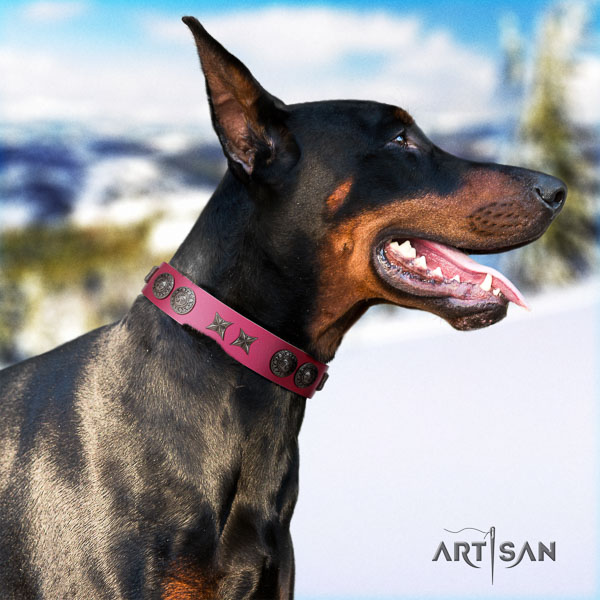 Doberman leather dog collar with embellishments for your lovely four-legged friend