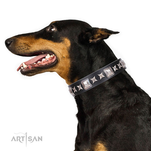 Doberman exceptional natural genuine leather dog collar for handy use